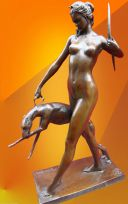 "ART DECO, BRONZE STATUE McCARTAN ""DIANA with HOUND"" FIGURINE"